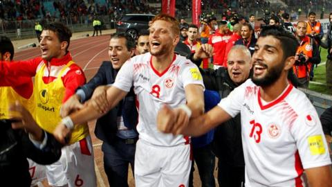 Tunisia celebrate reaching the World Cup