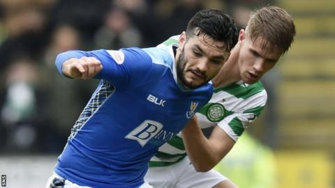 Tony Watt in action for St Johnstone against Celtic's Kristoffer Ajer