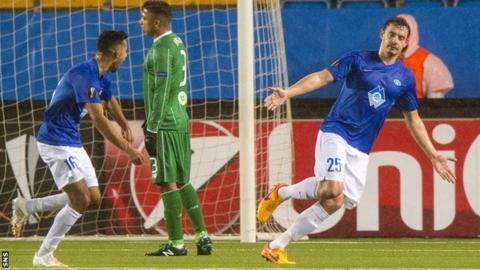 Molde's Vegard Forren (right) celebrates scoring against Celtic