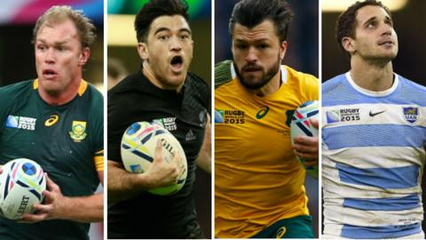 Schalk Burger, Nehe Milner-Skudder, Adam Ashley-Cooper and Joaquin Tuculet