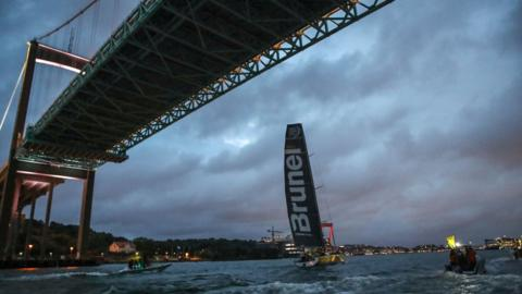 Netherlands' sailing boat Team Brunel is pictured after it won the Cardiff to Goteborg leg, the penultimate leg of the Volvo Ocean Race, on June 14, 2018. (Photo by Adam IHSE / TT News Agency / AFP) / Sweden OUT (Photo credit should read ADAM IHSE/AFP/Getty Images)