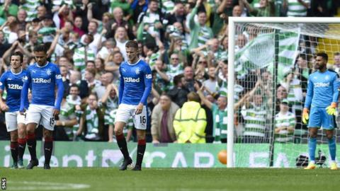 Rangers players are left disappointed against Celtic on Saturday