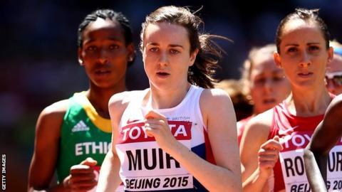 Laura Muir competing in the 1,500m heats during the 2015 World Championships