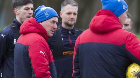 Mark Warburton takes Rangers training on Friday