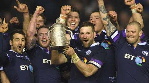 Scotland captain John Barclay lifts the Calcutta Cup