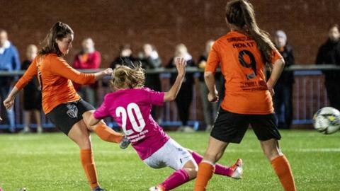 Clare Shine scores Glasgow City's first goal against Chertanovo Moscow