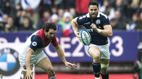 Sean Maitland races for the ball during Scotland's Six Nations defeat by France in February