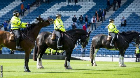 Police respond to disorder at the Scottish Cup final