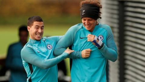 Eden Hazard and David Luiz