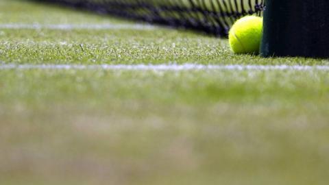 a tennis ball on a court