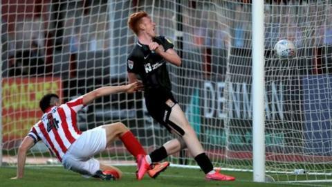 Northampton's Callum Morton scores his second goal of the game