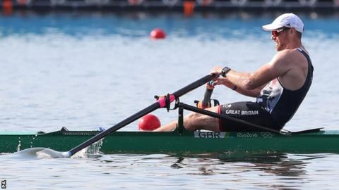 Great Britain's Alan Campbell on his way to victory in his single sculls heat in Rio