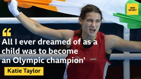 "Photo of Katie Taylor celebrating winning Olympic gold at London 2012 with the quote: ""All I ever dreamed of as a child was to become an Olympic champion"