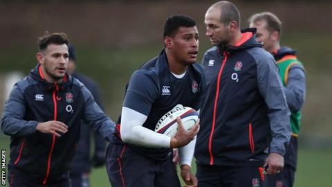 Nathan Hughes (centre) will win his third cap for England, with Billy Vunipola out with a knee injury