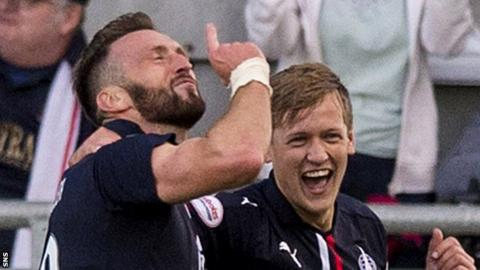Lee Miller celebrates a recent goal for Falkirk against Dundee United
