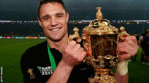 Dan Carter with rugby World Cup