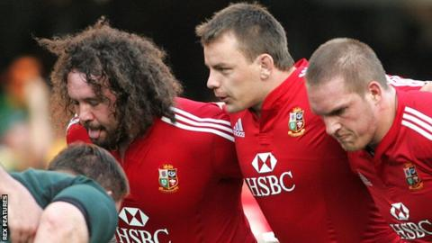 Matthew Rees packs down between Adam Jones and Gethin Jenkins against South Africa for the 2009 Lions