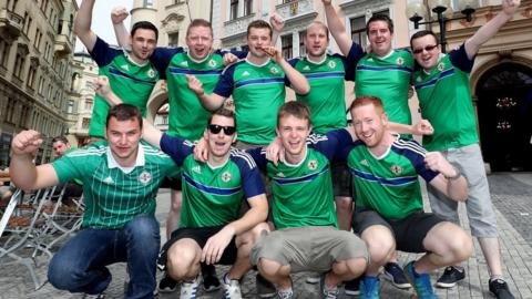 Northern Ireland fans savour the pre-match atmosphere in Prague