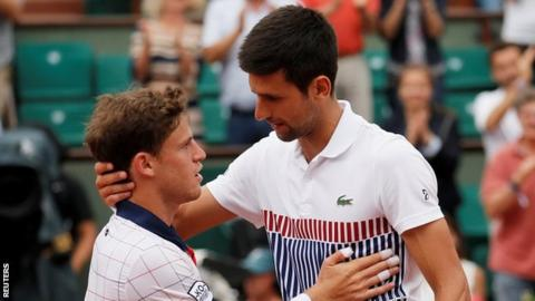 Diego Schwartzman and Novak Djokovic
