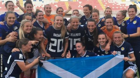 Scotland Women celebrate qualifying for the World Cup