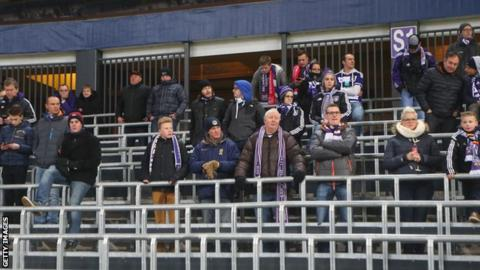 Anderlecht fans on the safe standing terraces at the stadium during the UEFA Europa League match between Anderlecht and Olympiakos FC at Constant Vanden Stock Stadium