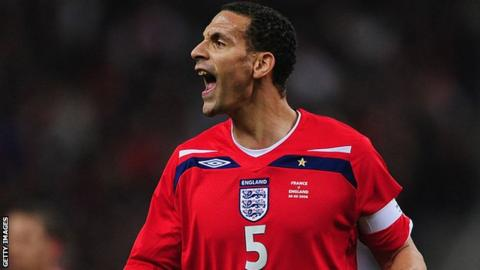 England defender Rio Ferdinand during an international friendly against France in 2008