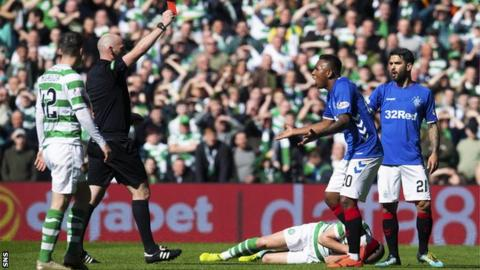 Alfredo Morelos was shown a 31st-minute red card as Rangers lost to Celtic