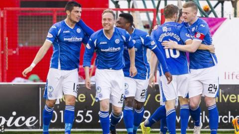 St Johnstone players celebrate