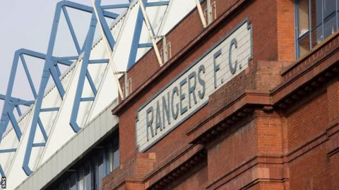 Rangers FC banner at Ibrox Stadium