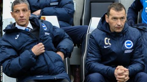 Chris Hughton (left) and Colin Calderwood at Brighton