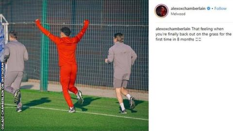Alex-Oxlade Chamberlain posted a message on Instagram as he stepped up his recovery