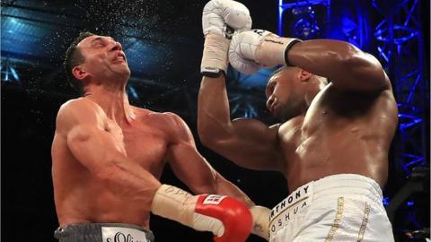 Anthony Joshua defeats Wladimir Klitschko at Wembley