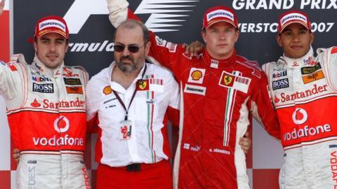 Spanish McLaren-Mercedes driver Fernando Alonso, Ferrari engineer Gilles Simon, Finnish Ferrari driver Kimi Raikkonen and British McLaren-Mercedes driver Lewis Hamilton