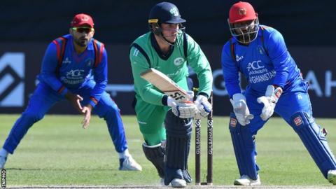Gary Wilson in action for Ireland against Afghanistan