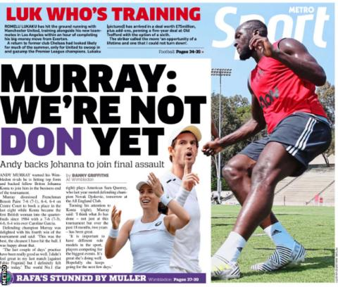 Metro carried images of Romelu Lukaku training with Manchester United for the first time