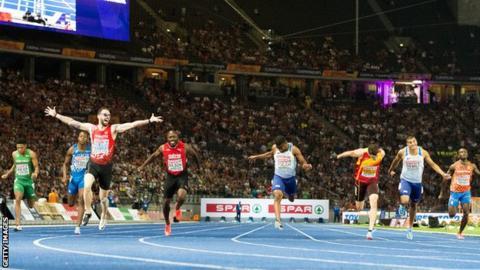 Adam Gemili and Leon Reid in action at last year's European 200m final in Berlin