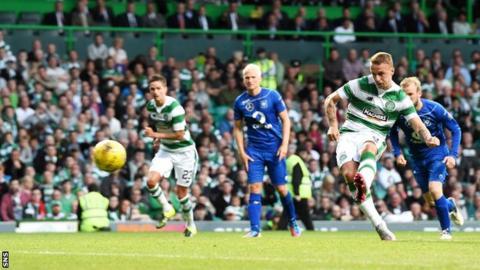 Celtic forward Leigh Griffiths has a penalty saved against Stjarnan