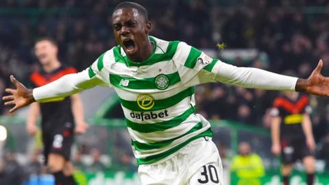 Timothy Weah celebrates his first Celtic goal