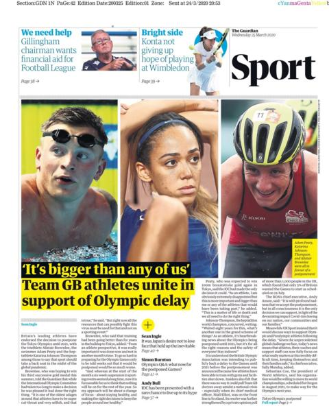 Guardian back page for Wednesday, 25 March