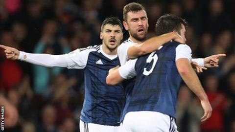 Scotland celebrate James McArthur's equaliser