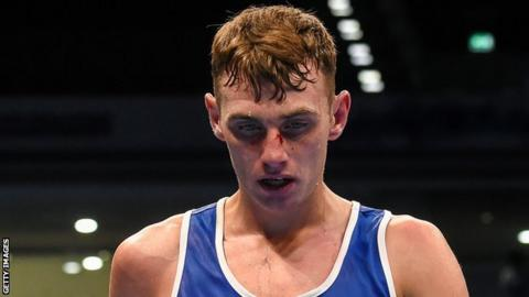 Sean McComb lost in the last 16 of the light welterweight division on Sunday