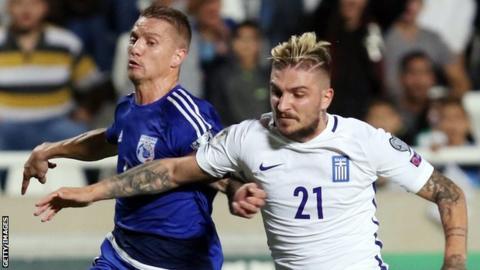 Jason Demetriou (left) playing for Cyprus against Greece