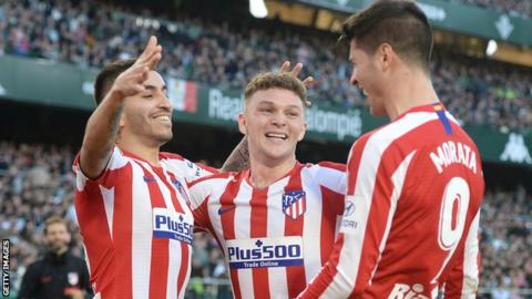 Kieran Trippier celebrates with his Atletico Madrid team-mates