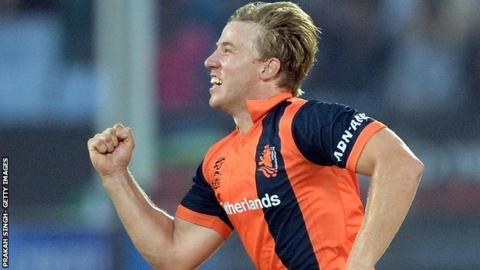 Logan van Beek took the wickets of Jos Buttler, Ravi Bopara and Chris Jordan when the Dutch beat England at Chittagong in March 2014