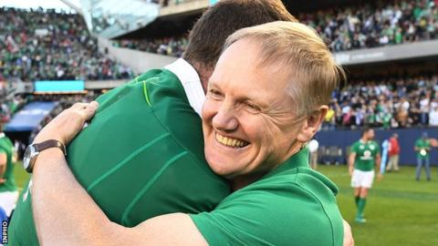 Ireland coach Joe Schmidt celebrates with Donnacha Ryan after the 40-29 victory over New Zealand in Chicago