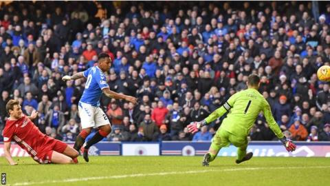 Alfredo Morelos was unable to fire Rangers to victory in Saturday's goalless draw with Aberdeen