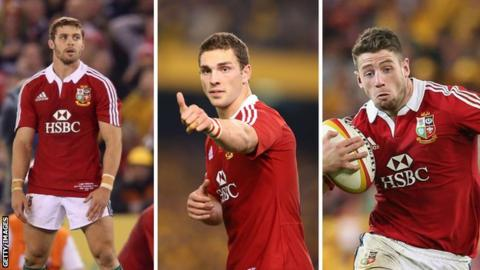 Leigh Halfpenny, George North and Alex Cuthbert