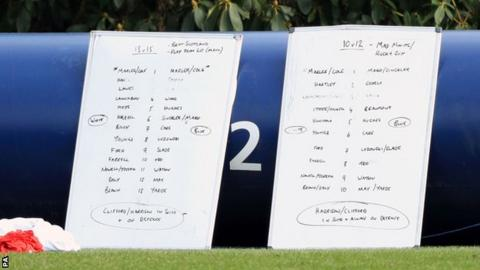 Two whiteboards positioned at the side of the pitch at Pennyhill Park appeared to show England's starting XV to face Scotland with Billy Vunipola pencilled in at number eight in place of Nathan Hughes