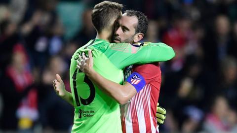 Atletico Madrid's Diego Godin and Jan Oblak