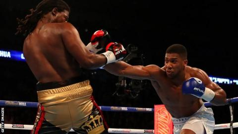 Anthony Joshua punches Charles Martin